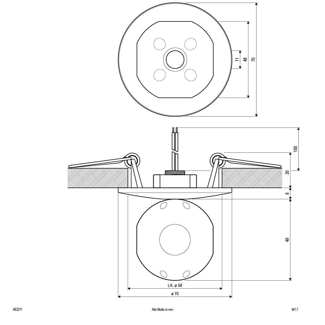deckeneinbau rund chrom glaskugel ip20 g4 max 20w 12v. Black Bedroom Furniture Sets. Home Design Ideas