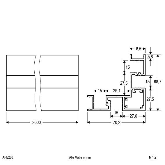 eck profil f r innen und au eneck aluminium profil 200cm alu eloxiert. Black Bedroom Furniture Sets. Home Design Ideas